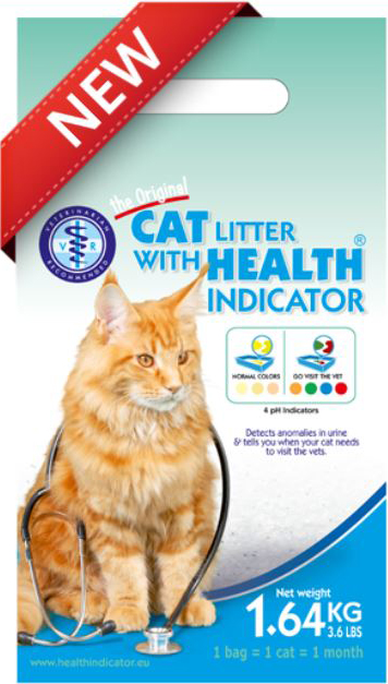 cat litter with health indicator